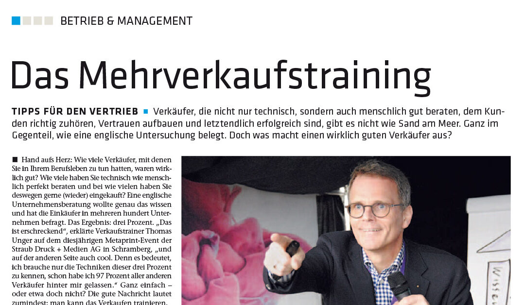 Artikel in Deutscher Drucker – Das Mehrverkaufstraining